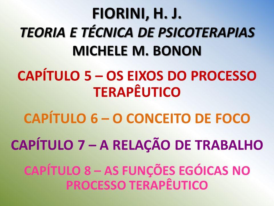 FIORINI, H. J. TEORIA E TÉCNICA DE PSICOTERAPIAS MICHELE M. BONON CAPÍTULO 5 – OS EIXOS DO PROCESSO TERAPÊUTICO CAPÍTULO 6 – O CONCEITO DE FOCO CAPÍTU