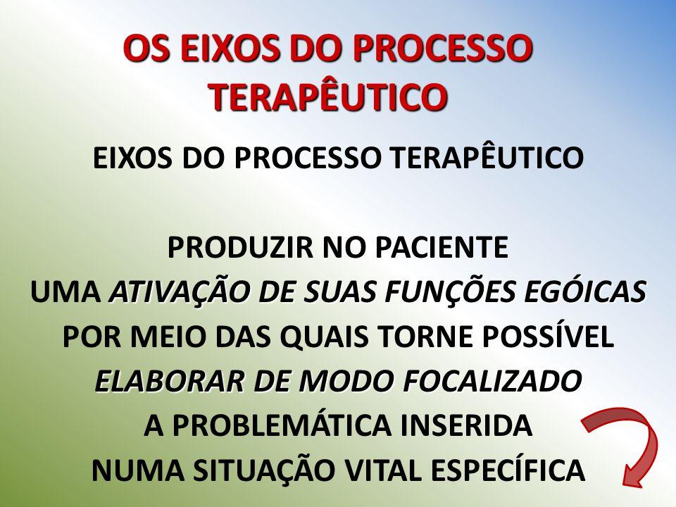 OS EIXOS DO PROCESSO TERAPÊUTICO EIXOS DO PROCESSO TERAPÊUTICO COM BASE NO DIRECIONAMENTO NO ESTÍMULO E NAS REALIZAÇÕES SIMBÓLICAS DO VÍNCULO VIVIDO RELAÇÃO DE TRABALHO PERSONIFICADA NUMA RELAÇÃO DE TRABALHO PERSONIFICADA COM O TERAPEUTA