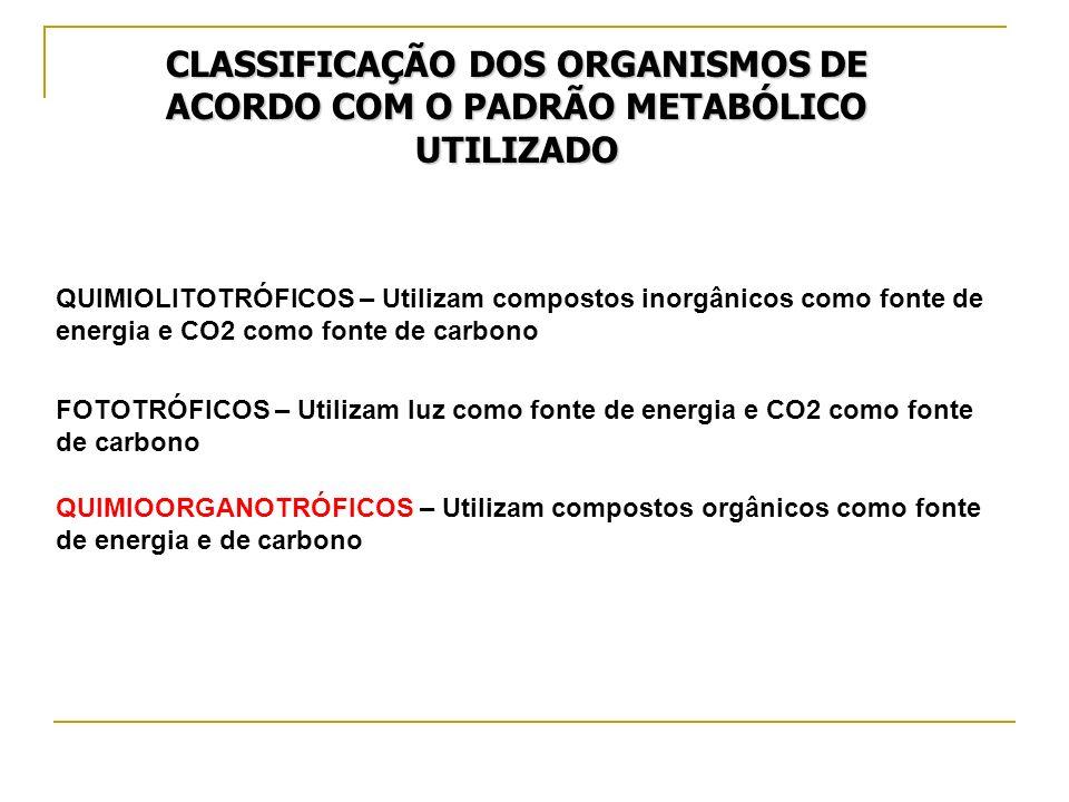 CLASSIFICAÇÃO DOS ORGANISMOS DE ACORDO COM O PADRÃO METABÓLICO UTILIZADO QUIMIOLITOTRÓFICOS – Utilizam compostos inorgânicos como fonte de energia e C