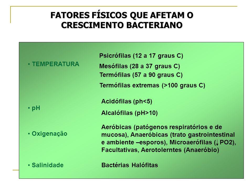 FATORES FÍSICOS QUE AFETAM O CRESCIMENTO BACTERIANO TEMPERATURA Psicrófilas (12 a 17 graus C) Mesófilas (28 a 37 graus C) Termófilas (57 a 90 graus C)