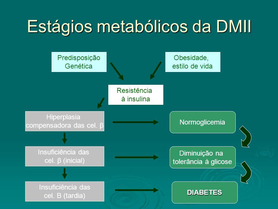 Estágios metabólicos da DMII Predisposição Genética Obesidade, estilo de vida Resistência à insulina Hiperplasia compensadora das cel. β Insuficiência