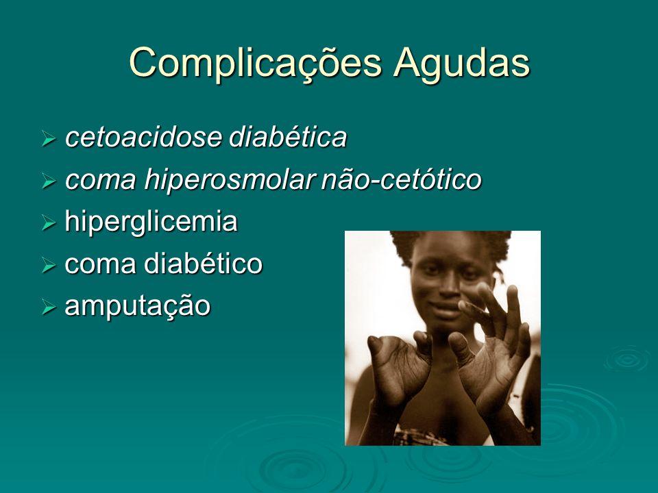 Complicações Agudas cetoacidose diabética cetoacidose diabética coma hiperosmolar não-cetótico coma hiperosmolar não-cetótico hiperglicemia hiperglice