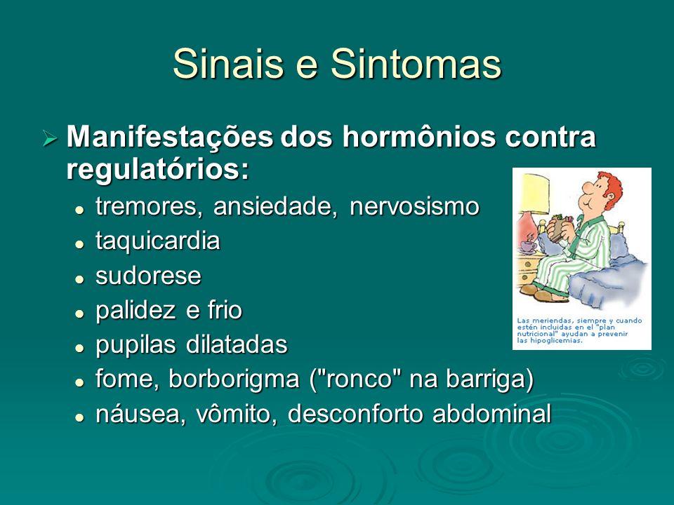 Sinais e Sintomas Manifestações dos hormônios contra regulatórios: Manifestações dos hormônios contra regulatórios: tremores, ansiedade, nervosismo tr