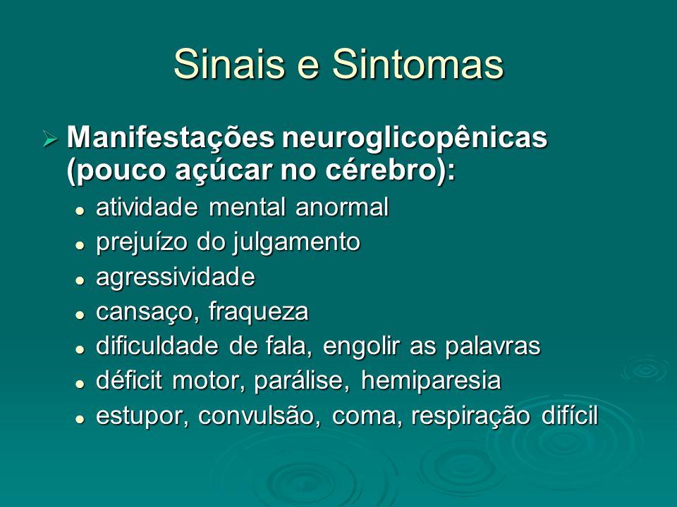 Sinais e Sintomas Manifestações neuroglicopênicas (pouco açúcar no cérebro): Manifestações neuroglicopênicas (pouco açúcar no cérebro): atividade ment
