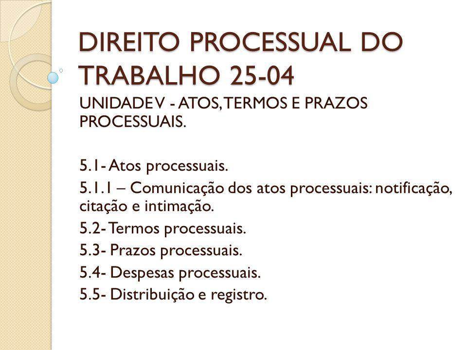 DIREITO PROCESSUAL DO TRABALHO 25-04 UNIDADE V - ATOS, TERMOS E PRAZOS PROCESSUAIS. 5.1- Atos processuais. 5.1.1 – Comunicação dos atos processuais: n