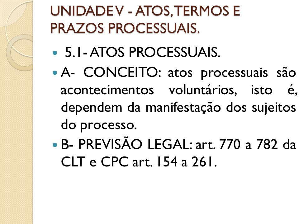 UNIDADE V - ATOS, TERMOS E PRAZOS PROCESSUAIS. 5.1- ATOS PROCESSUAIS. A- CONCEITO: atos processuais são acontecimentos voluntários, isto é, dependem d