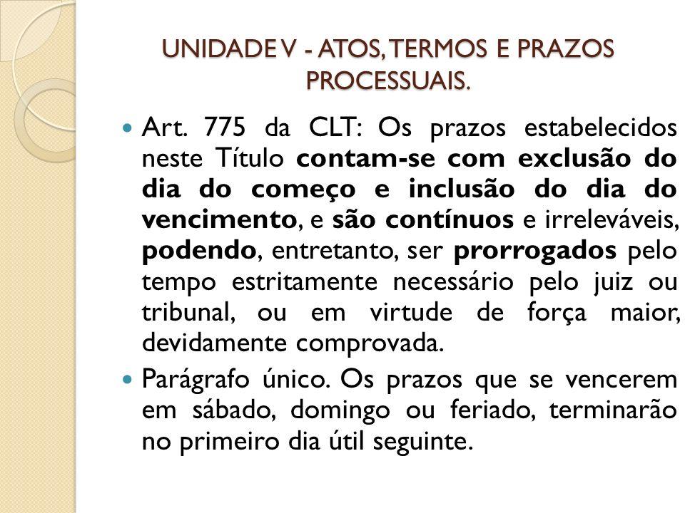 UNIDADE V - ATOS, TERMOS E PRAZOS PROCESSUAIS. Art. 775 da CLT: Os prazos estabelecidos neste Título contam-se com exclusão do dia do começo e inclusã