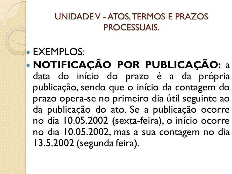 UNIDADE V - ATOS, TERMOS E PRAZOS PROCESSUAIS. EXEMPLOS: NOTIFICAÇÃO POR PUBLICAÇÃO: a data do início do prazo é a da própria publicação, sendo que o