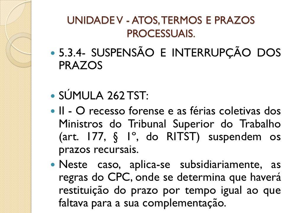 UNIDADE V - ATOS, TERMOS E PRAZOS PROCESSUAIS. 5.3.4- SUSPENSÃO E INTERRUPÇÃO DOS PRAZOS SÚMULA 262 TST: II - O recesso forense e as férias coletivas
