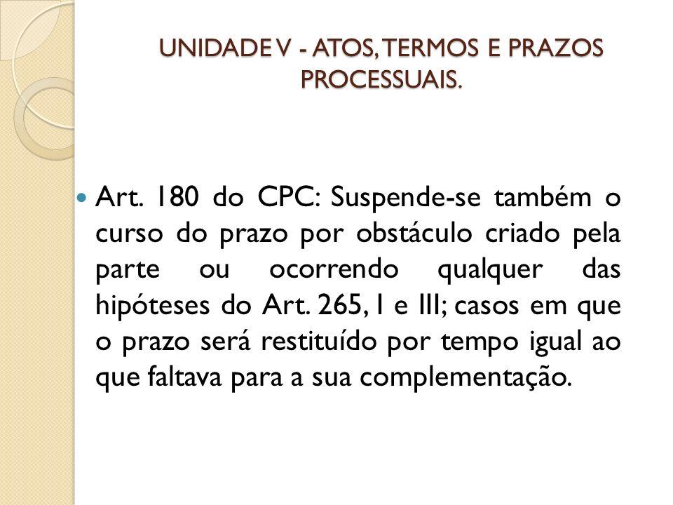 UNIDADE V - ATOS, TERMOS E PRAZOS PROCESSUAIS. Art. 180 do CPC: Suspende-se também o curso do prazo por obstáculo criado pela parte ou ocorrendo qualq