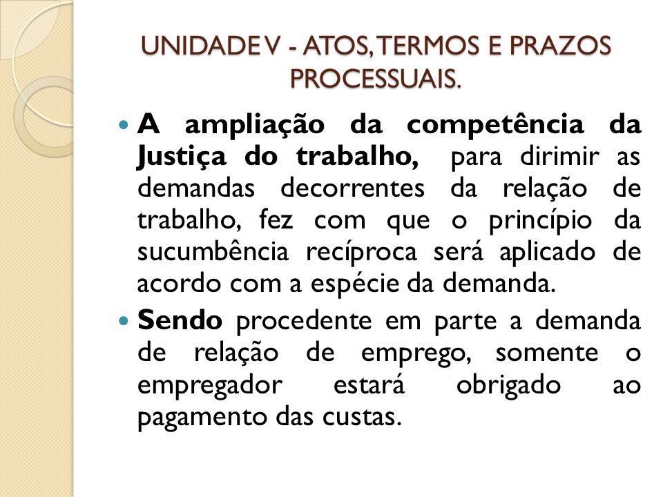 UNIDADE V - ATOS, TERMOS E PRAZOS PROCESSUAIS. A ampliação da competência da Justiça do trabalho, para dirimir as demandas decorrentes da relação de t