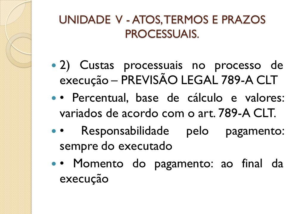 UNIDADE V - ATOS, TERMOS E PRAZOS PROCESSUAIS. 2) Custas processuais no processo de execução – PREVISÃO LEGAL 789-A CLT Percentual, base de cálculo e
