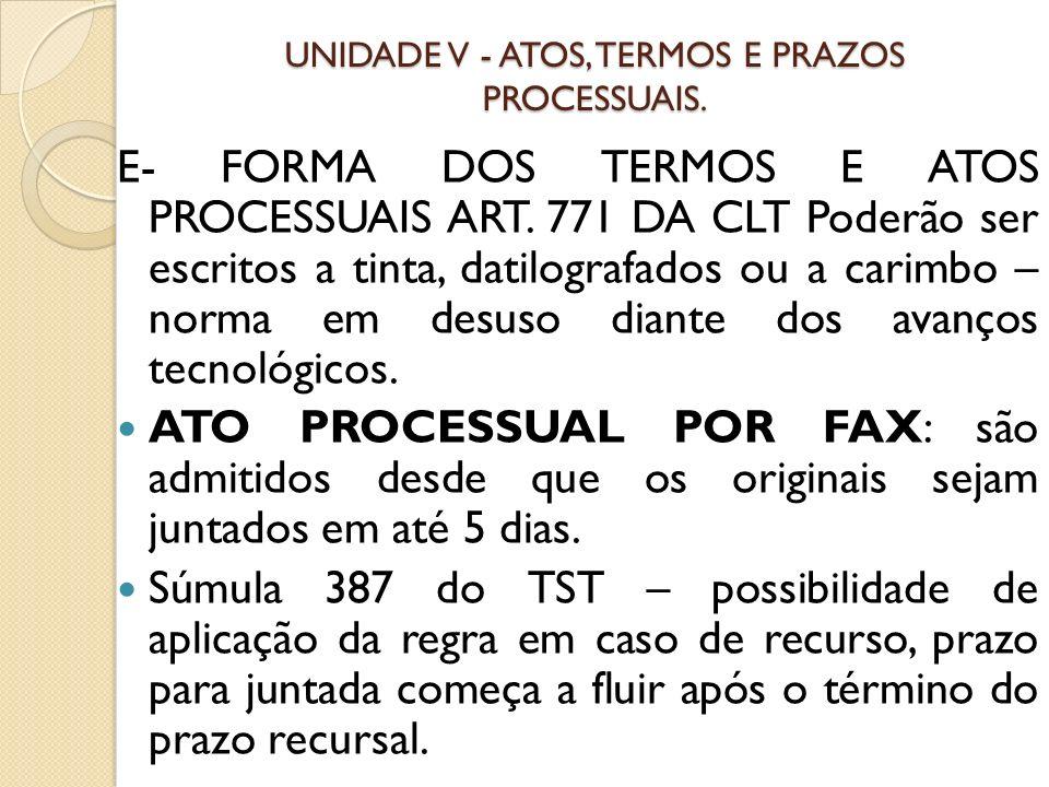 UNIDADE V - ATOS, TERMOS E PRAZOS PROCESSUAIS.Art.