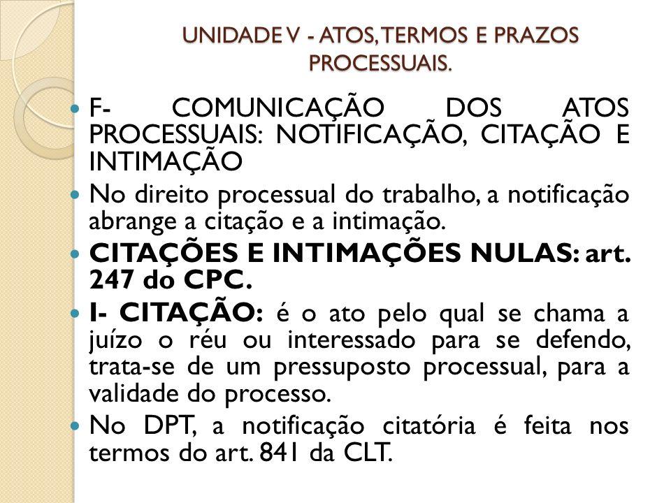 UNIDADE V - ATOS, TERMOS E PRAZOS PROCESSUAIS. F- COMUNICAÇÃO DOS ATOS PROCESSUAIS: NOTIFICAÇÃO, CITAÇÃO E INTIMAÇÃO No direito processual do trabalho