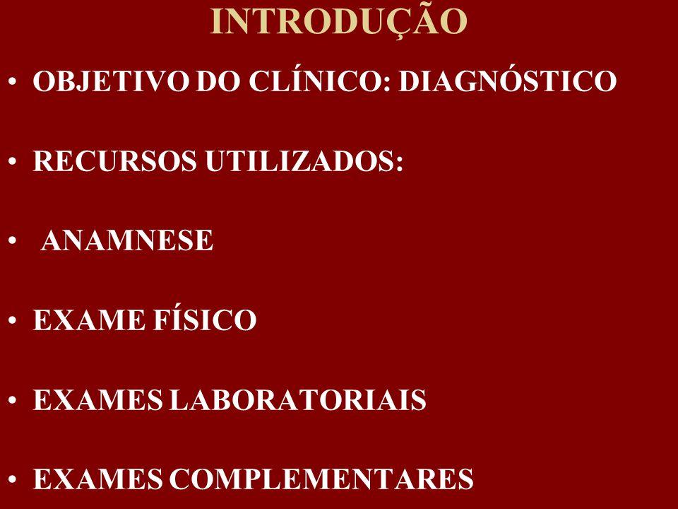 INTRODUÇÃO OBJETIVO DO CLÍNICO: DIAGNÓSTICO RECURSOS UTILIZADOS: ANAMNESE EXAME FÍSICO EXAMES LABORATORIAIS EXAMES COMPLEMENTARES