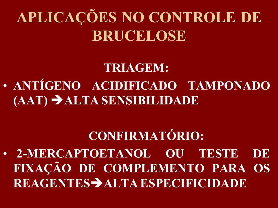 APLICAÇÕES NO CONTROLE DE BRUCELOSE TRIAGEM: ANTÍGENO ACIDIFICADO TAMPONADO (AAT) ALTA SENSIBILIDADE CONFIRMATÓRIO: 2-MERCAPTOETANOL OU TESTE DE FIXAÇ
