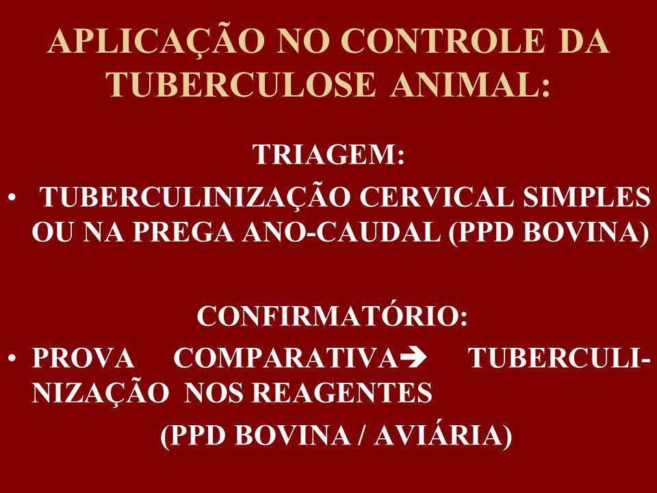 APLICAÇÃO NO CONTROLE DA TUBERCULOSE ANIMAL: TRIAGEM: TUBERCULINIZAÇÃO CERVICAL SIMPLES OU NA PREGA ANO-CAUDAL (PPD BOVINA) CONFIRMATÓRIO: PROVA COMPA