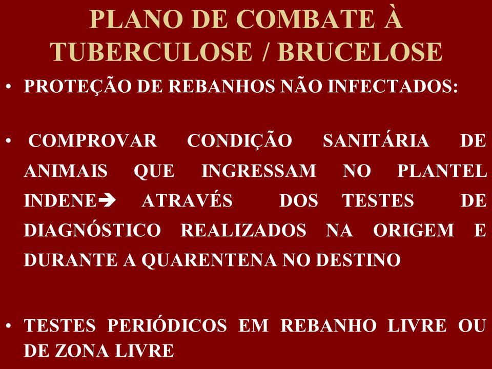 PLANO DE COMBATE À TUBERCULOSE / BRUCELOSE PROTEÇÃO DE REBANHOS NÃO INFECTADOS: COMPROVAR CONDIÇÃO SANITÁRIA DE ANIMAIS QUE INGRESSAM NO PLANTEL INDEN