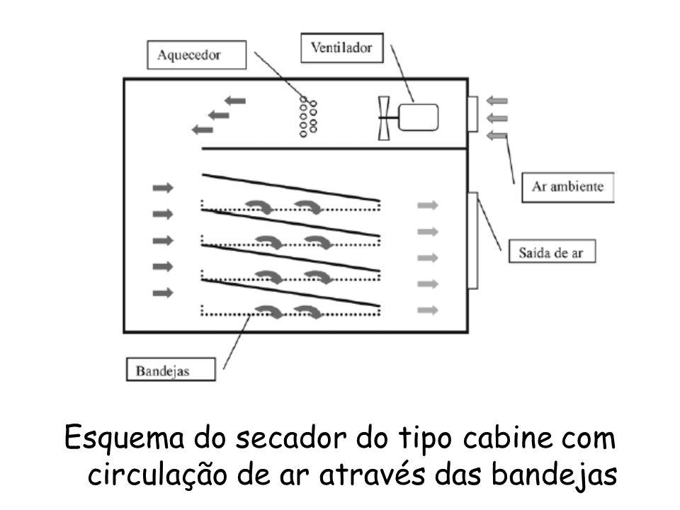 Esquema do secador do tipo cabine com circulação de ar através das bandejas
