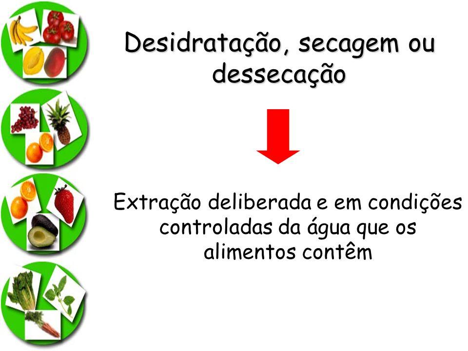 Desidratação, secagem ou dessecação Extração deliberada e em condições controladas da água que os alimentos contêm