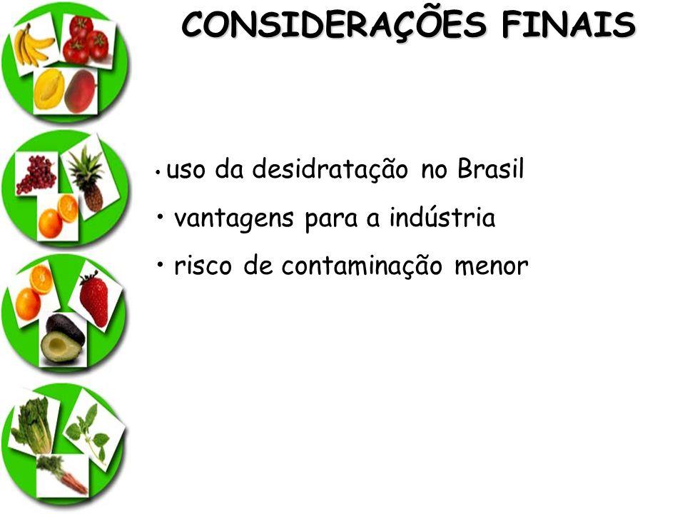 CONSIDERAÇÕES FINAIS uso da desidratação no Brasil vantagens para a indústria risco de contaminação menor
