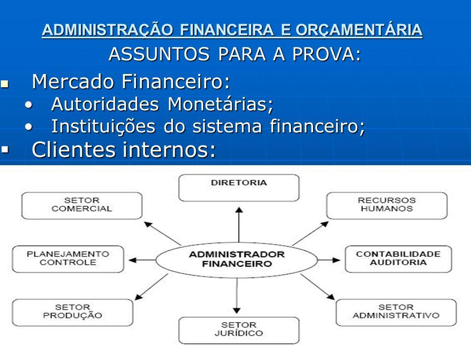 ADMINISTRAÇÃO FINANCEIRA E ORÇAMENTÁRIA ASSUNTOS PARA A PROVA: Mercado Financeiro: Mercado Financeiro: Autoridades Monetárias;Autoridades Monetárias;