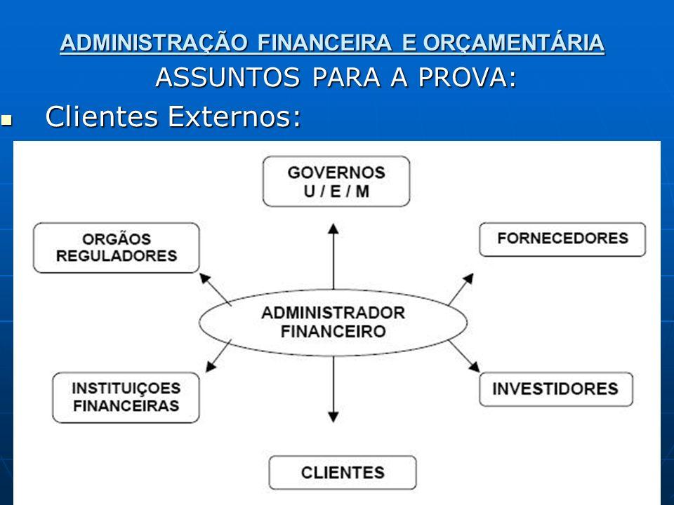 ADMINISTRAÇÃO FINANCEIRA E ORÇAMENTÁRIA ASSUNTOS PARA A PROVA: Clientes Externos: Clientes Externos: