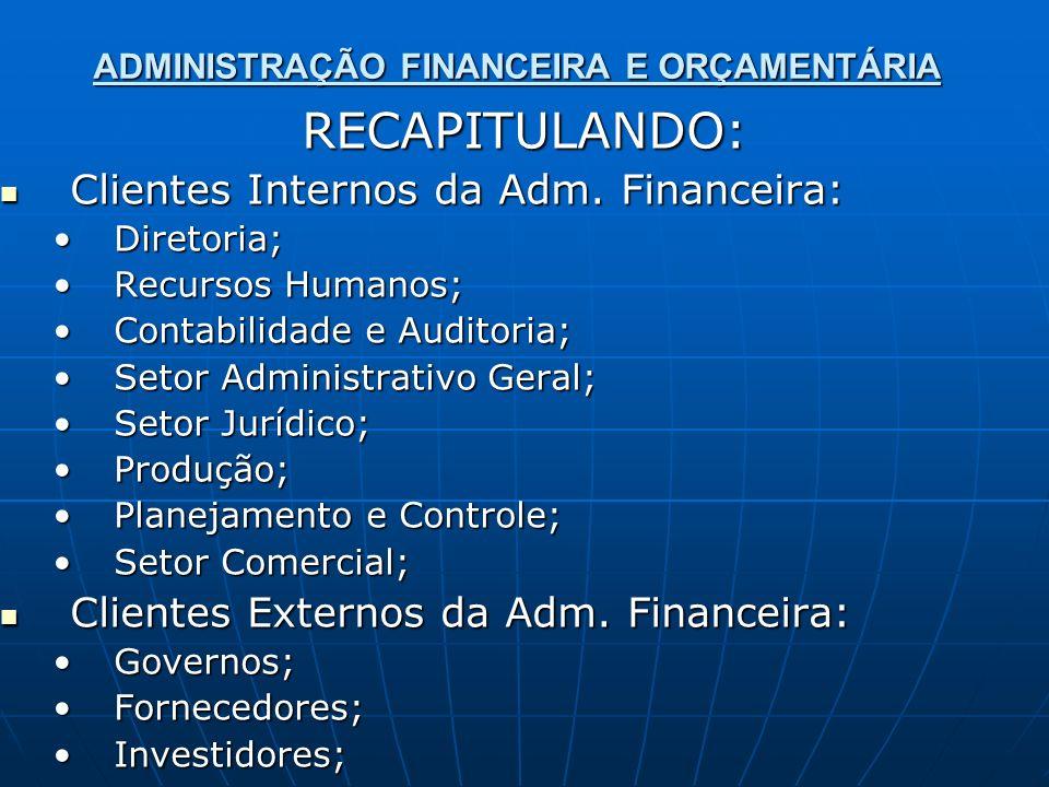 ADMINISTRAÇÃO FINANCEIRA E ORÇAMENTÁRIA RECAPITULANDO: Clientes Internos da Adm. Financeira: Clientes Internos da Adm. Financeira: Diretoria;Diretoria