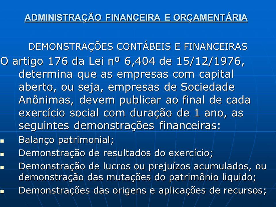 ADMINISTRAÇÃO FINANCEIRA E ORÇAMENTÁRIA DEMONSTRAÇÕES CONTÁBEIS E FINANCEIRAS O artigo 176 da Lei nº 6,404 de 15/12/1976, determina que as empresas co