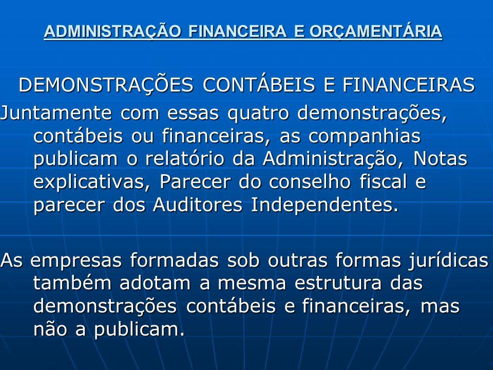 ADMINISTRAÇÃO FINANCEIRA E ORÇAMENTÁRIA DEMONSTRAÇÕES CONTÁBEIS E FINANCEIRAS Juntamente com essas quatro demonstrações, contábeis ou financeiras, as