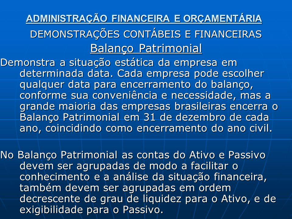 ADMINISTRAÇÃO FINANCEIRA E ORÇAMENTÁRIA DEMONSTRAÇÕES CONTÁBEIS E FINANCEIRAS Balanço Patrimonial Demonstra a situação estática da empresa em determin