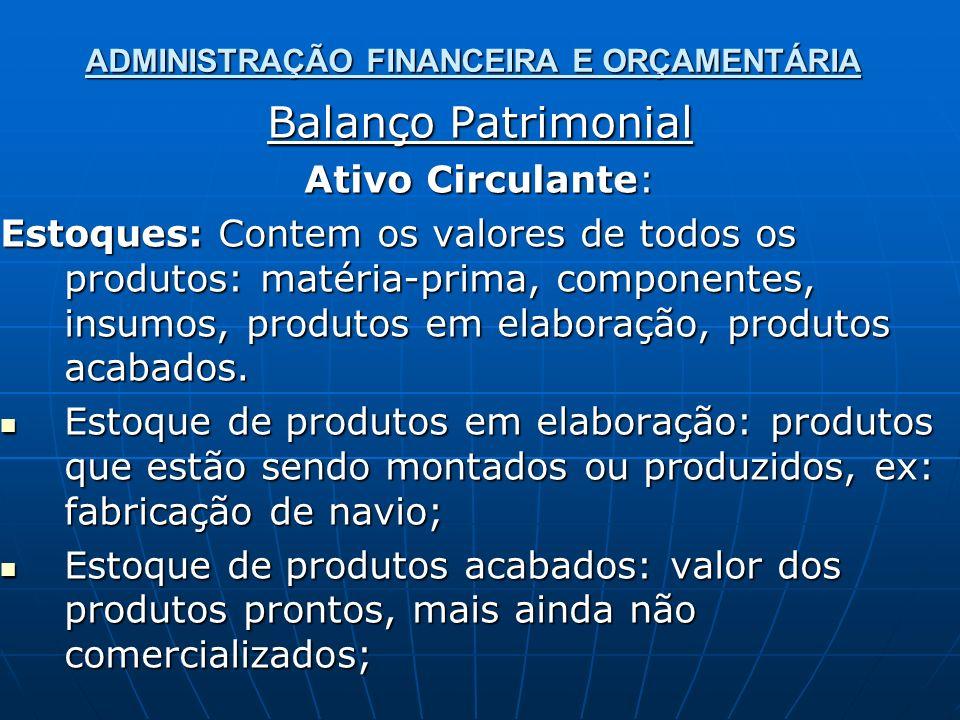 ADMINISTRAÇÃO FINANCEIRA E ORÇAMENTÁRIA Balanço Patrimonial Ativo Circulante: Estoques: Contem os valores de todos os produtos: matéria-prima, compone