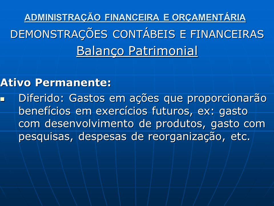 ADMINISTRAÇÃO FINANCEIRA E ORÇAMENTÁRIA DEMONSTRAÇÕES CONTÁBEIS E FINANCEIRAS Balanço Patrimonial Ativo Permanente: Diferido: Gastos em ações que prop