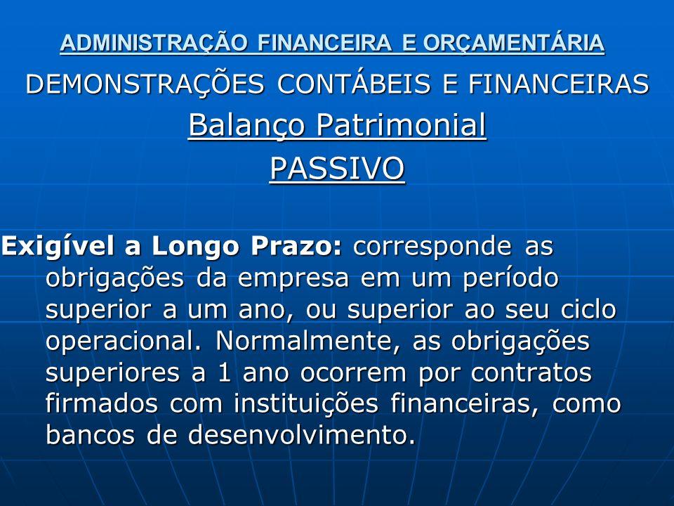 ADMINISTRAÇÃO FINANCEIRA E ORÇAMENTÁRIA DEMONSTRAÇÕES CONTÁBEIS E FINANCEIRAS Balanço Patrimonial PASSIVO Exigível a Longo Prazo: corresponde as obrig