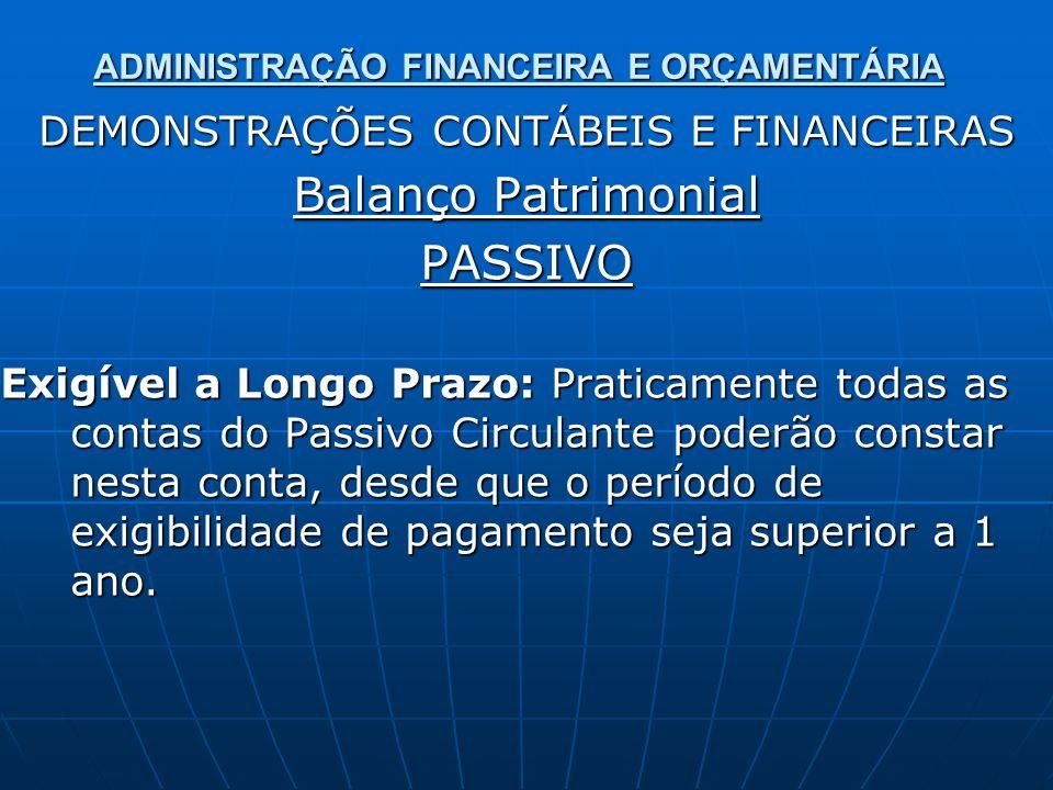 ADMINISTRAÇÃO FINANCEIRA E ORÇAMENTÁRIA DEMONSTRAÇÕES CONTÁBEIS E FINANCEIRAS Balanço Patrimonial PASSIVO Exigível a Longo Prazo: Praticamente todas a