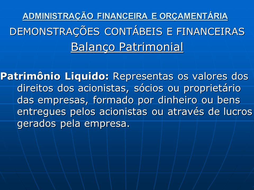 ADMINISTRAÇÃO FINANCEIRA E ORÇAMENTÁRIA DEMONSTRAÇÕES CONTÁBEIS E FINANCEIRAS Balanço Patrimonial Patrimônio Liquido: Representas os valores dos direi