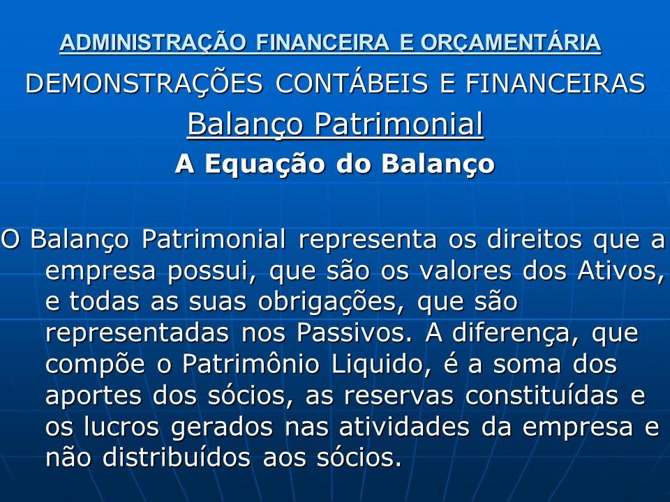 ADMINISTRAÇÃO FINANCEIRA E ORÇAMENTÁRIA DEMONSTRAÇÕES CONTÁBEIS E FINANCEIRAS Balanço Patrimonial A Equação do Balanço O Balanço Patrimonial represent