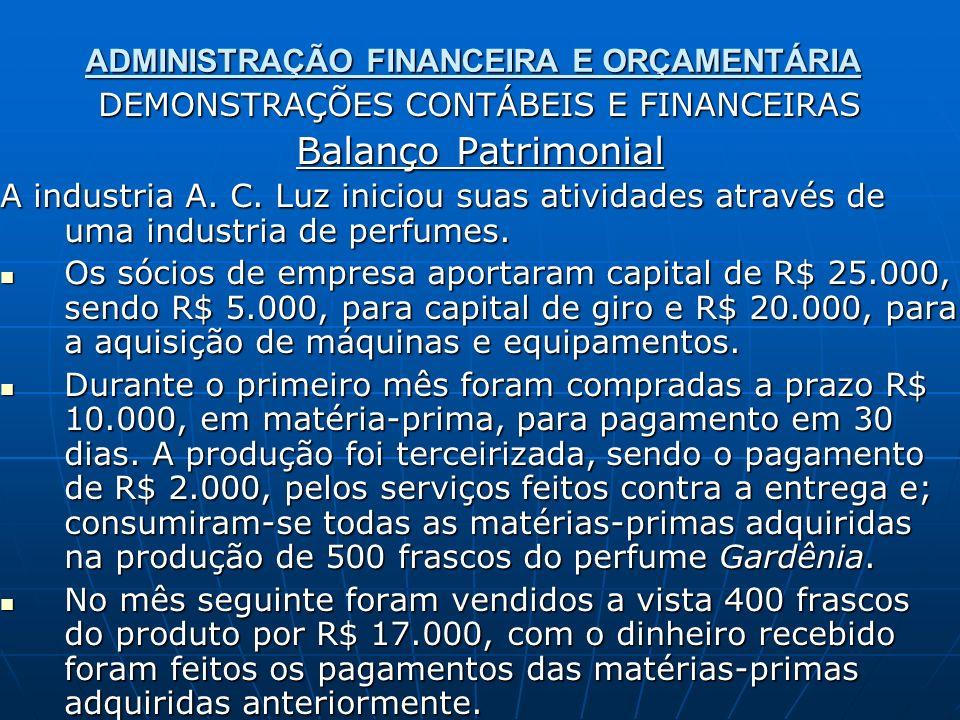 ADMINISTRAÇÃO FINANCEIRA E ORÇAMENTÁRIA DEMONSTRAÇÕES CONTÁBEIS E FINANCEIRAS Balanço Patrimonial A industria A. C. Luz iniciou suas atividades atravé