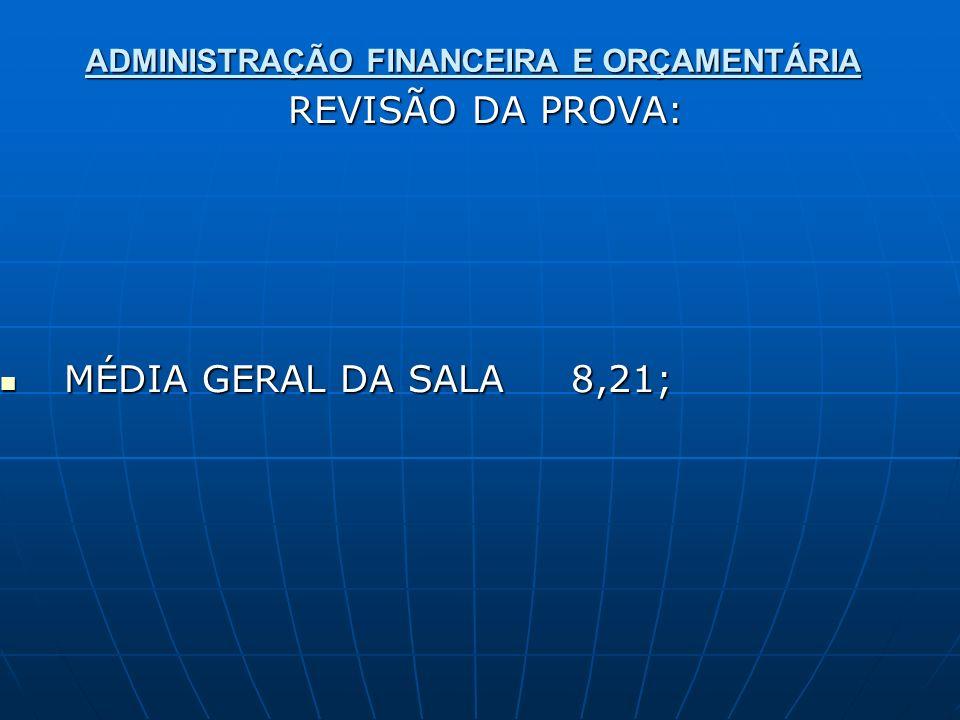 ADMINISTRAÇÃO FINANCEIRA E ORÇAMENTÁRIA REVISÃO DA PROVA: REVISÃO DA PROVA: MÉDIA GERAL DA SALA 8,21; MÉDIA GERAL DA SALA 8,21;