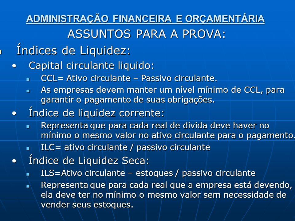 ADMINISTRAÇÃO FINANCEIRA E ORÇAMENTÁRIA ASSUNTOS PARA A PROVA: Índices de Liquidez: Índices de Liquidez: Capital circulante liquido:Capital circulante