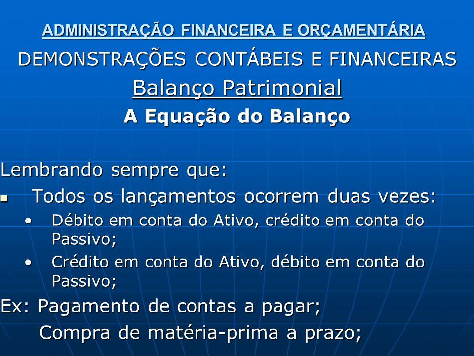 ADMINISTRAÇÃO FINANCEIRA E ORÇAMENTÁRIA DEMONSTRAÇÕES CONTÁBEIS E FINANCEIRAS Balanço Patrimonial A Equação do Balanço Lembrando sempre que: Todos os