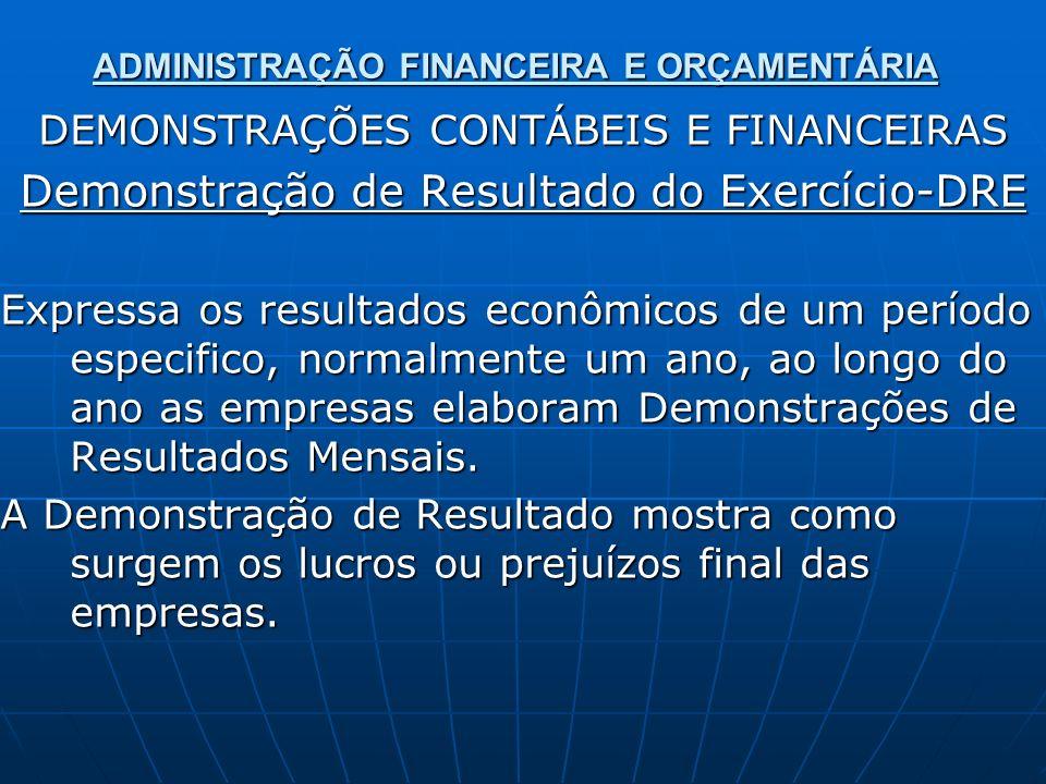 ADMINISTRAÇÃO FINANCEIRA E ORÇAMENTÁRIA DEMONSTRAÇÕES CONTÁBEIS E FINANCEIRAS Demonstração de Resultado do Exercício-DRE Expressa os resultados econôm