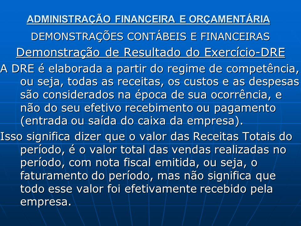 ADMINISTRAÇÃO FINANCEIRA E ORÇAMENTÁRIA DEMONSTRAÇÕES CONTÁBEIS E FINANCEIRAS Demonstração de Resultado do Exercício-DRE A DRE é elaborada a partir do