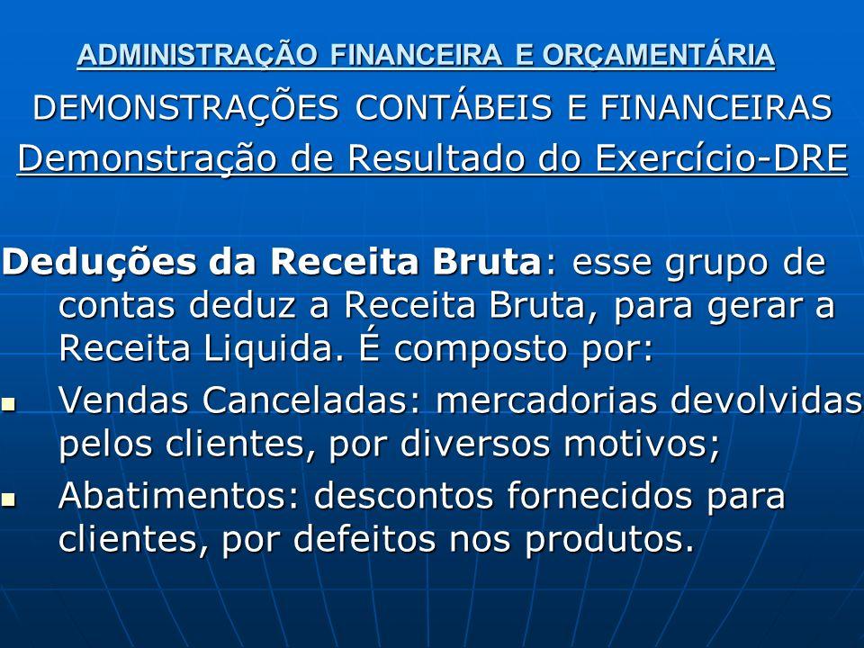 ADMINISTRAÇÃO FINANCEIRA E ORÇAMENTÁRIA DEMONSTRAÇÕES CONTÁBEIS E FINANCEIRAS Demonstração de Resultado do Exercício-DRE Deduções da Receita Bruta: es
