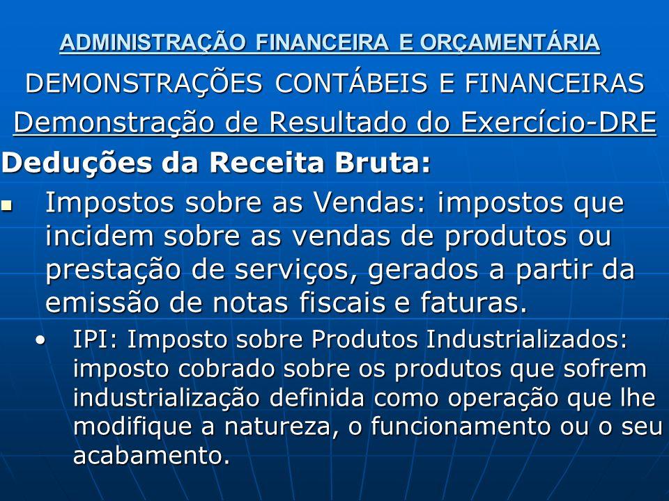 ADMINISTRAÇÃO FINANCEIRA E ORÇAMENTÁRIA DEMONSTRAÇÕES CONTÁBEIS E FINANCEIRAS Demonstração de Resultado do Exercício-DRE Deduções da Receita Bruta: Im
