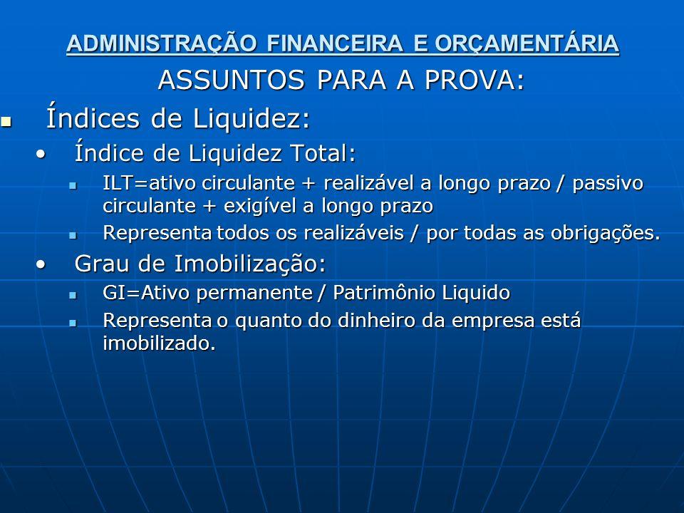 ADMINISTRAÇÃO FINANCEIRA E ORÇAMENTÁRIA ASSUNTOS PARA A PROVA: Índices de Liquidez: Índices de Liquidez: Índice de Liquidez Total:Índice de Liquidez T