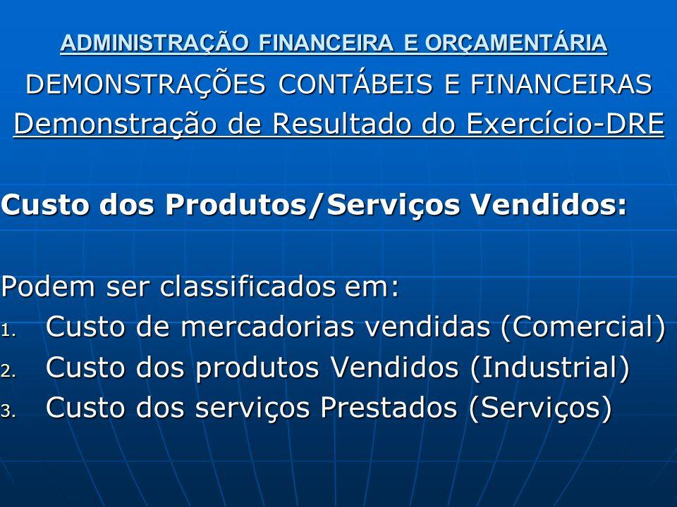 ADMINISTRAÇÃO FINANCEIRA E ORÇAMENTÁRIA DEMONSTRAÇÕES CONTÁBEIS E FINANCEIRAS Demonstração de Resultado do Exercício-DRE Custo dos Produtos/Serviços V