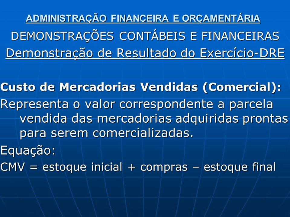 ADMINISTRAÇÃO FINANCEIRA E ORÇAMENTÁRIA DEMONSTRAÇÕES CONTÁBEIS E FINANCEIRAS Demonstração de Resultado do Exercício-DRE Custo de Mercadorias Vendidas