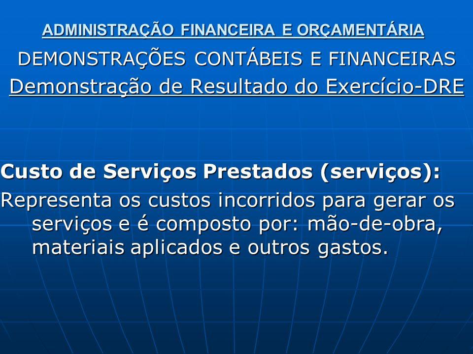 ADMINISTRAÇÃO FINANCEIRA E ORÇAMENTÁRIA DEMONSTRAÇÕES CONTÁBEIS E FINANCEIRAS Demonstração de Resultado do Exercício-DRE Custo de Serviços Prestados (