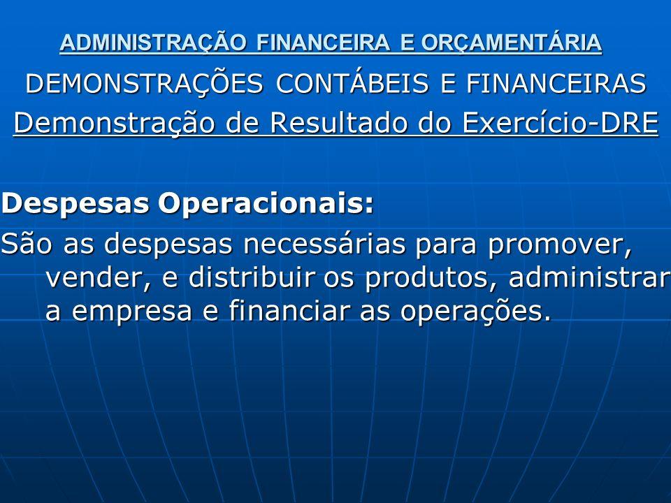ADMINISTRAÇÃO FINANCEIRA E ORÇAMENTÁRIA DEMONSTRAÇÕES CONTÁBEIS E FINANCEIRAS Demonstração de Resultado do Exercício-DRE Despesas Operacionais: São as